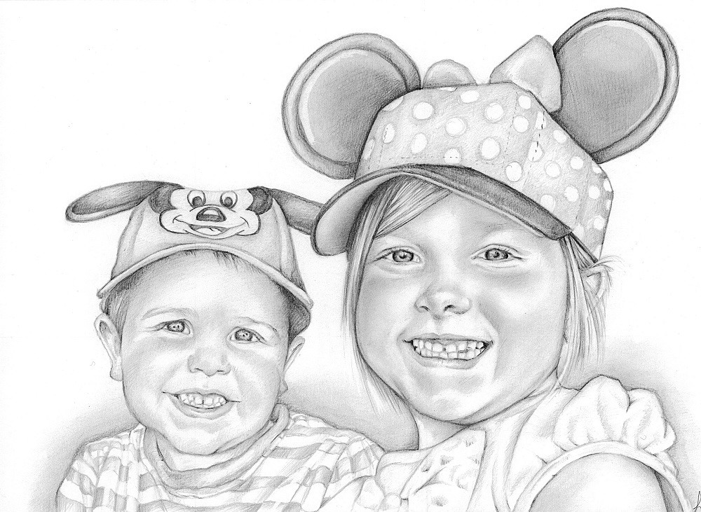 'Say cheese' sibling photo realistic illustration | picky pencil