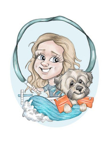 young girl swimming theme and pet dog caricature sketch birthday gift for neice   picky pencil caricature