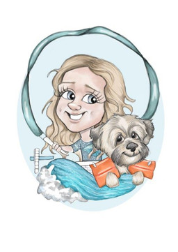 young girl swimming theme and pet dog caricature sketch birthday gift for neice | picky pencil caricature