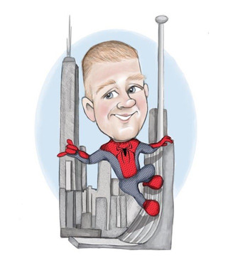 long service aberdeen corporate presentation personalised spiderman theme caricature drawing | picky pencil corporate caricature commission
