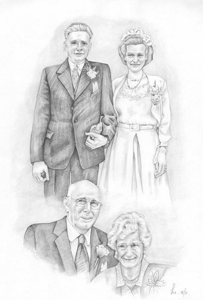 then and now realistic drawing illustration wedding couple anniversary | picky pencil editorial illustration