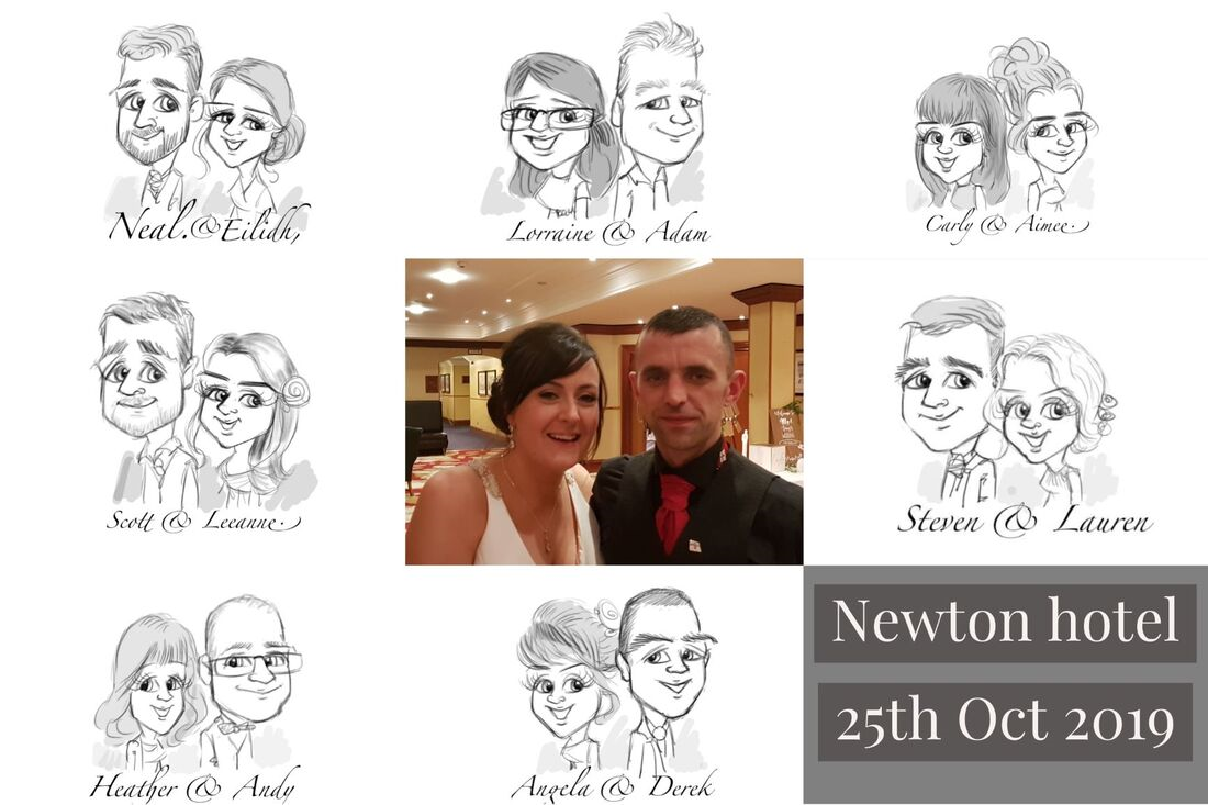 Newton hotel Nairn wedding caricature drawing for guests | Picky pencil artist at your wedding
