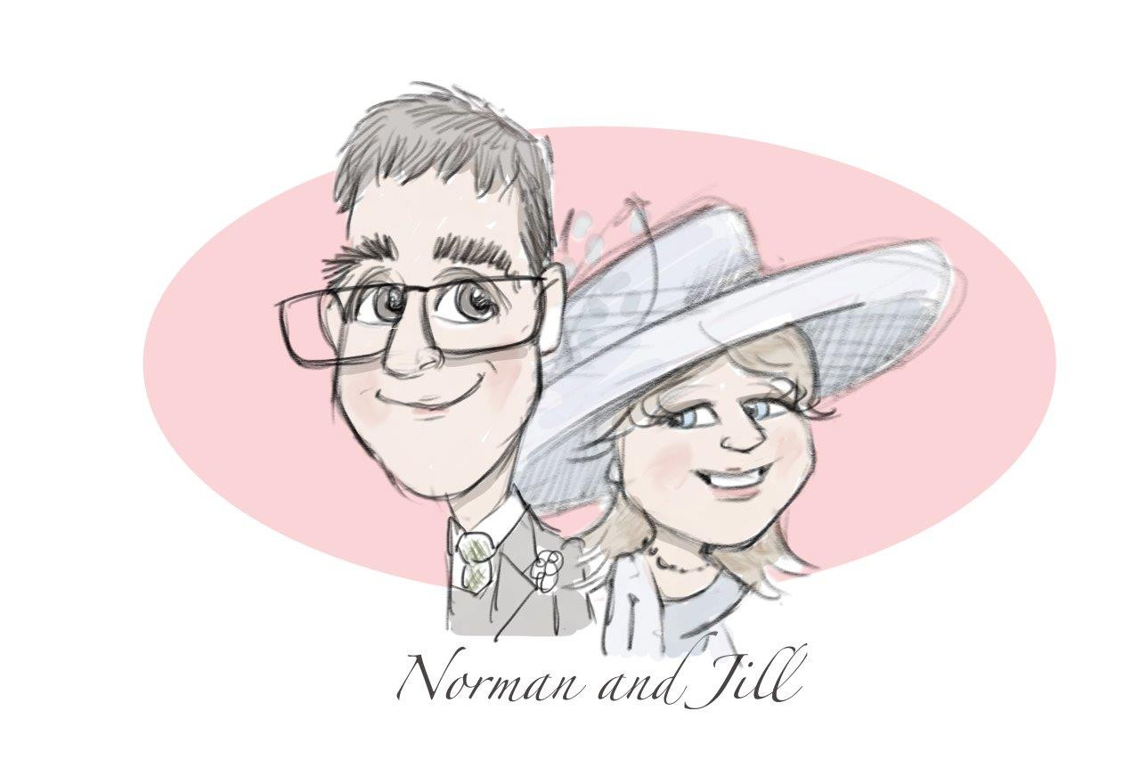 bridal party caricatures by picky pencil