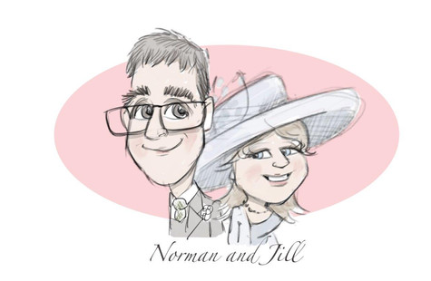 mother and father of the groom wedding gift keepsake caricature   picky pencil wedding caricature
