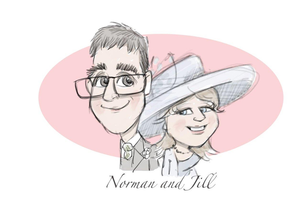 mother and father of the groom wedding gift keepsake caricature | picky pencil wedding caricature