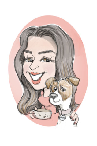 caricature drawing of femal friend and her jack russell dog cartoon gift | picky pencil family caricature