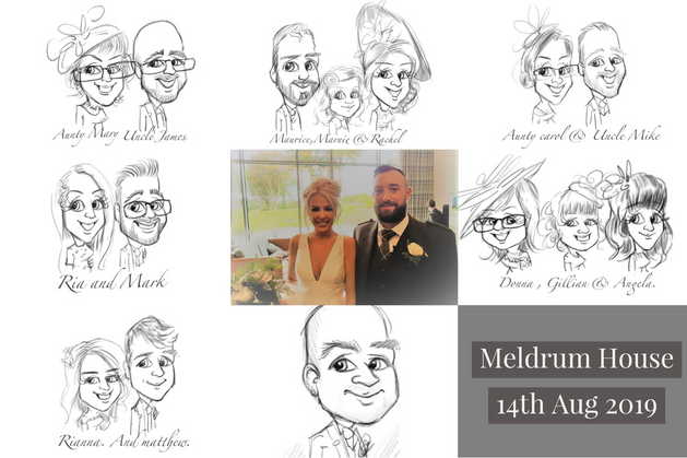 Meldrum House wedding entertainment picky pencil drawing for your guests.