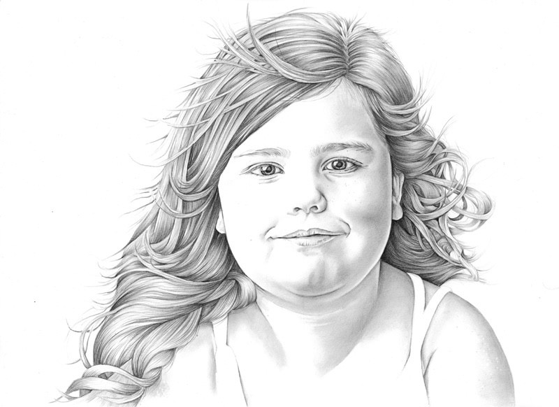 Graphite head and shoulder pencil drawing portrait of a young girl | picky pencil