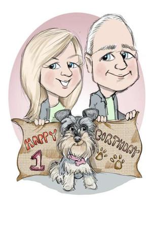 shnauzer dog caricature birthday commission drawing family | picky pencil dog caricaturist