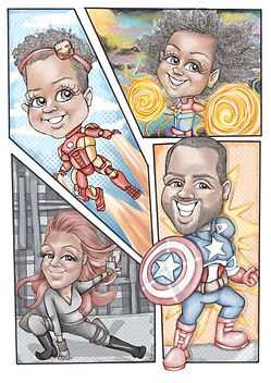 super hero family caricature picky pencil