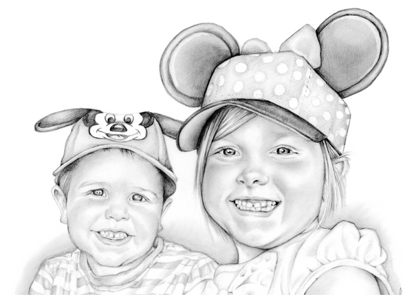 Graphite pencil portrait drawing of brother and sister at disney | picky pencil