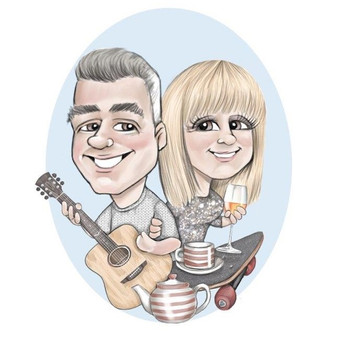 Couple caricature christmas commission unusual gift idea for friends | music, tea and skateboarding theme | picky pencil christmas caricature