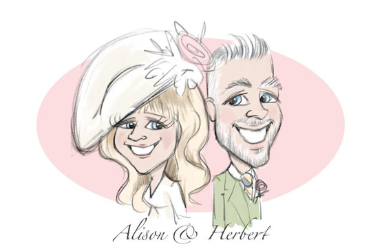 mother and father of the bride live sketch caricature drawing | picky pencil wedding caricaturist