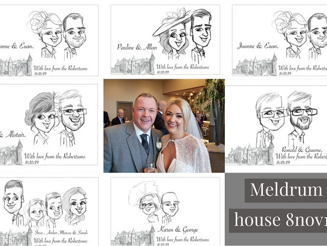 Meldrum house wedding breakfast guest caricatures | picky pencil artist at your wedding