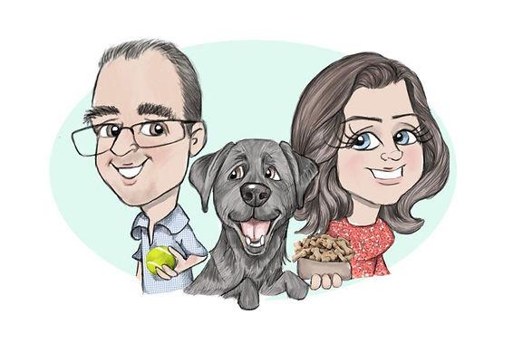 Family caricature with black labrador | Picky pencil caricaturist .jpg