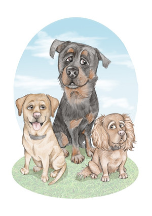 rotwieler, cocker spaniel and labrador dog caricature drawing   picky pencil pet caricature
