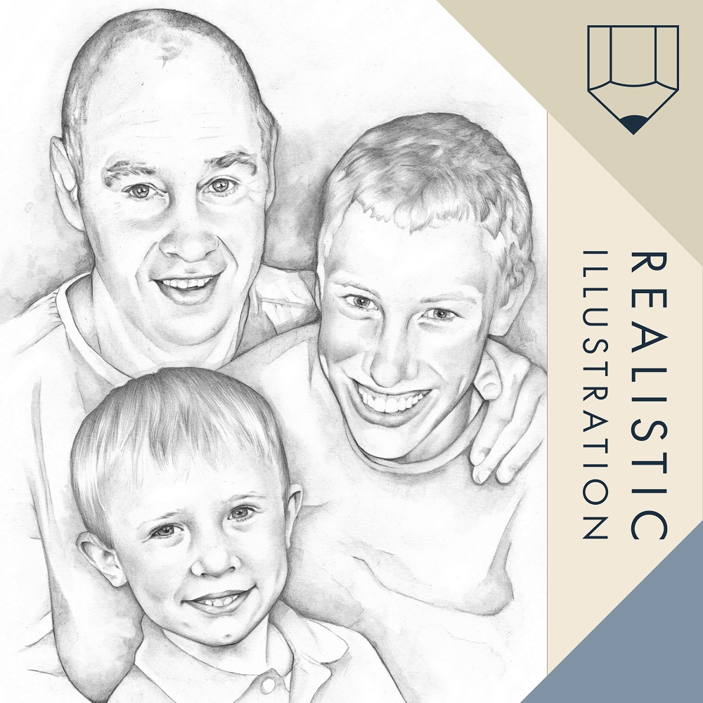 pencil portrait illustration realistic style drawing from your own photographs.