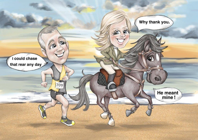 Funny anniversary caricature gift for wife on a beach riding a horse   picky pencil caricature artist