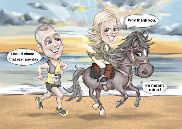 Funny anniversary caricature gift for wife on a beach riding a horse | picky pencil caricature artist