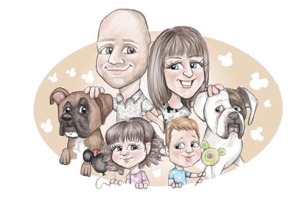 family group caricature drawing commission gft for her | picky pencil family caricaturist