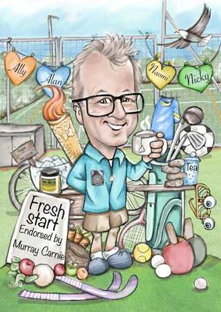 Mintlaw academy pe teacher retirement gift caricature commission | picky pencil cartoonist