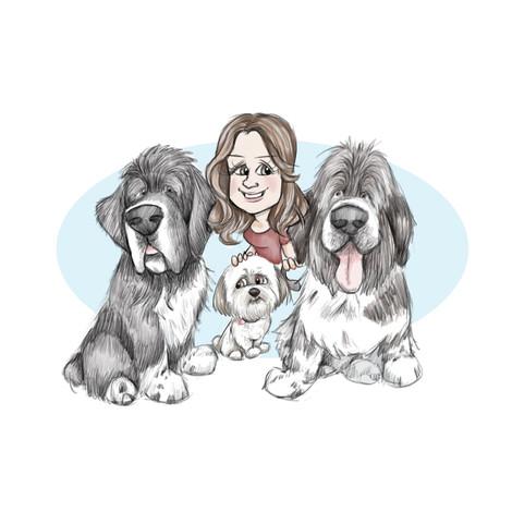 newfoundland family caricature portrait birthday commission | picky pencil dog caricaturist