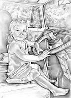little girl driving a car editorial realistic illustration   picky pencil editorial