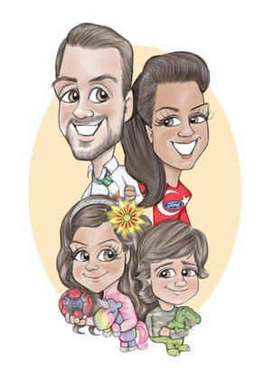 family portrait caricature drawing for mum s birthday | picky pencil birthday caricaturist