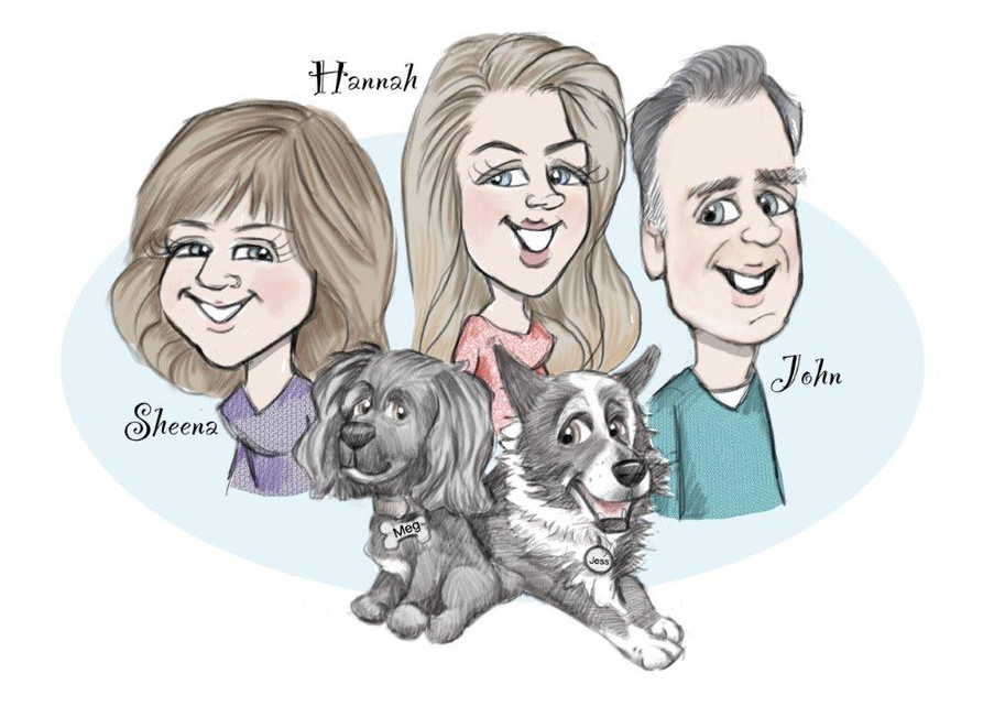 family quirky personalise caricature drawing | picky pencil family caricature