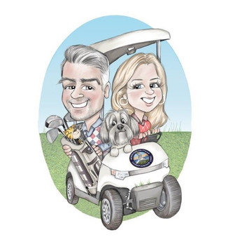 golf theme caricature commission drawing for friend couple and their pet dog | picky pencil personal caricatures