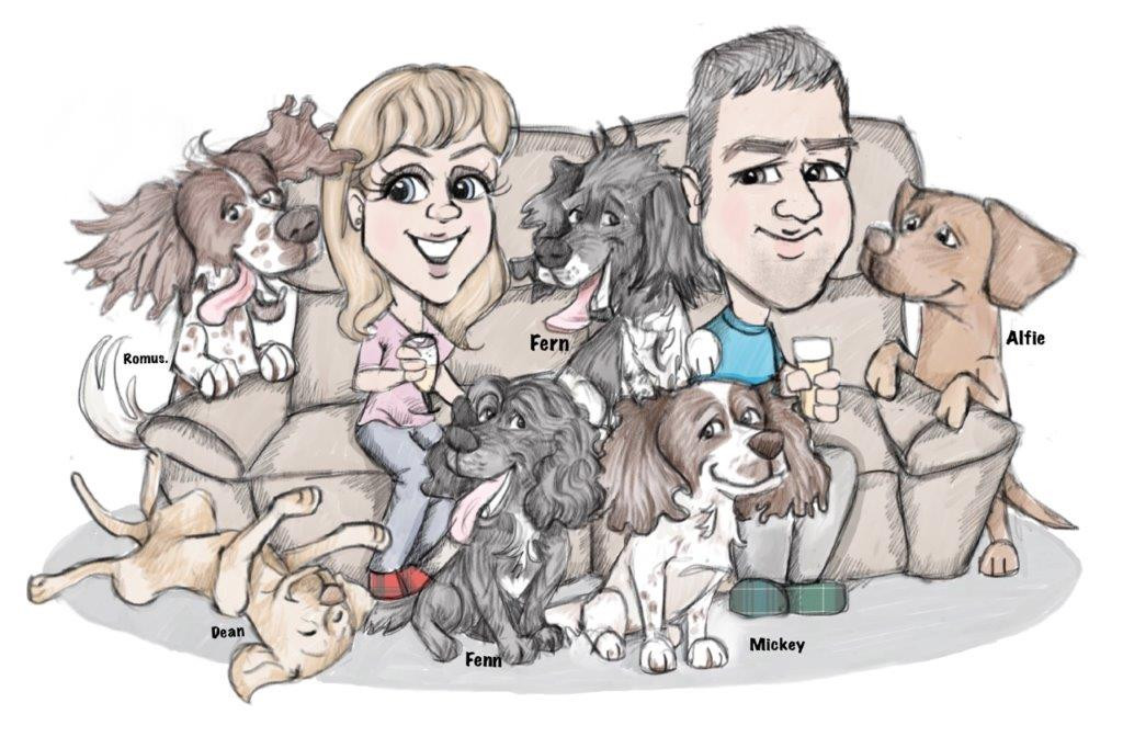 Fathers day dog sofa cartoon illustration | Picky Pencil