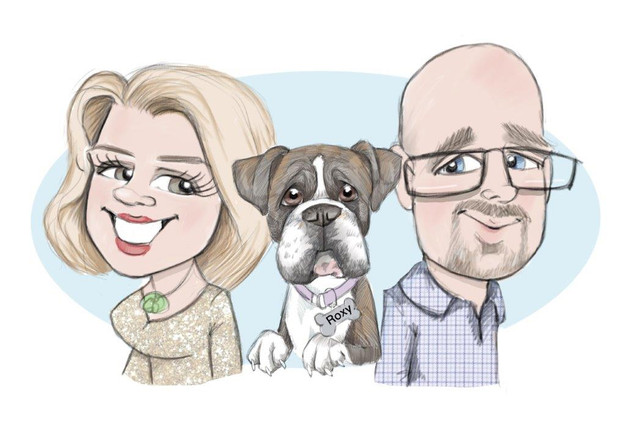 family caricature drawing ipad portrait | picky pencil birthday caricature