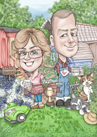 Couples digital caricature anniversary personalised gift   picky pencil caricature