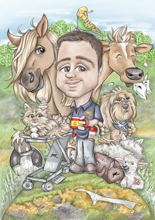 digital colour caricature commission leaving gift for buchan vet | picky pencil caricature artist