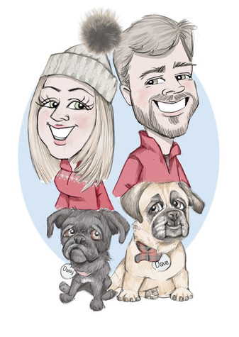 christmas family caricature gift cartoon illustration | picky pencil christmas caricature