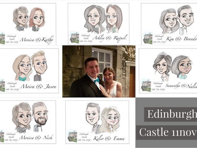 Edinburgh castle wedding recetion guest favour cartoons | picky pencil artist at your wedding