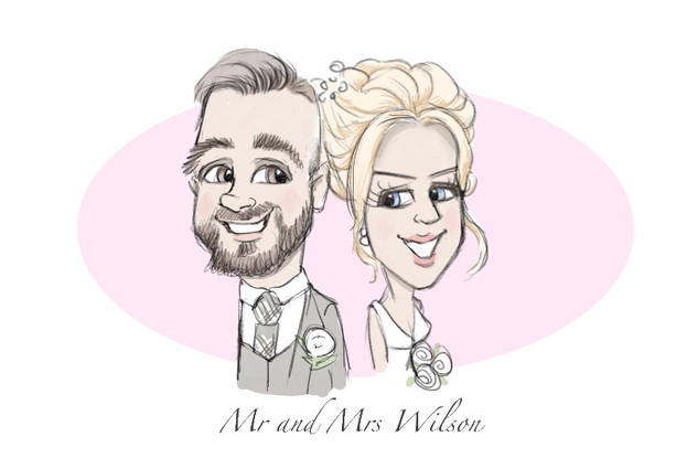 Bride and groom newly wed colour caricature memento | picky pencil wedding caricature