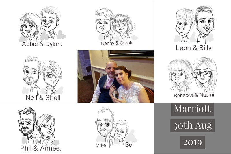 Marriott hotel Dyce wedding illustrations