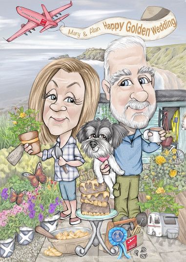 ruby wedding personalised caricature drawing gift for mum and dad set in their garden | picky pencil cariature commission