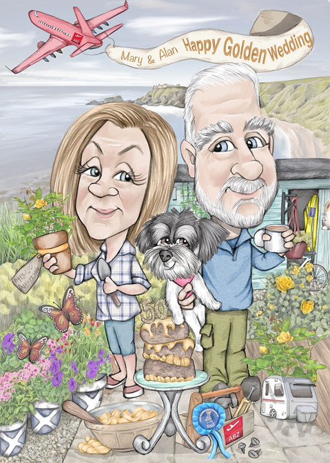 ruby wedding personalised caricature drawing gift for mum and dad set in their garden   picky pencil cariature commission