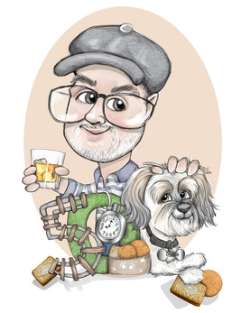 Digital caricature birthday gift for men with pet dog | picky pencil caricature commission