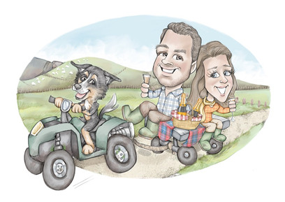wedding gift caricature of collie driving a quad bike to a celebration picnic | picky pencil gift caricature