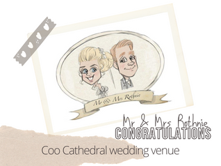 Artist@ your wedding Coos Cathedral caricatures