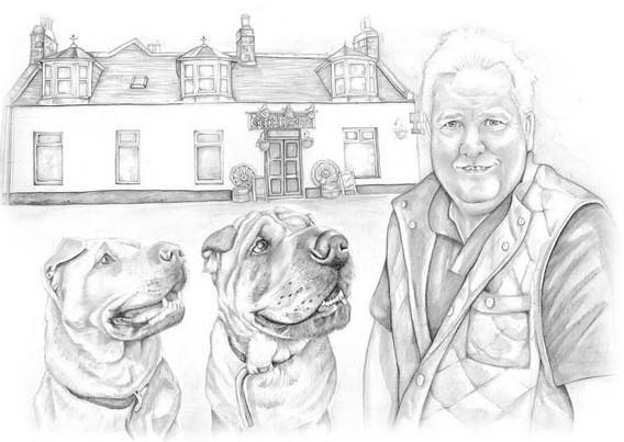 pub landlord and pet dog black and white realistic illustration | picky pencil editorial illustrator