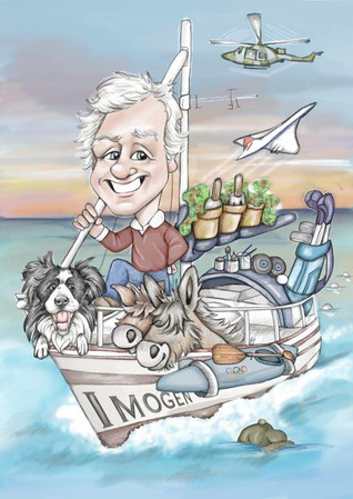 Digital caricature drawing of dad on a boat with her collie   picky pencil caricature artist