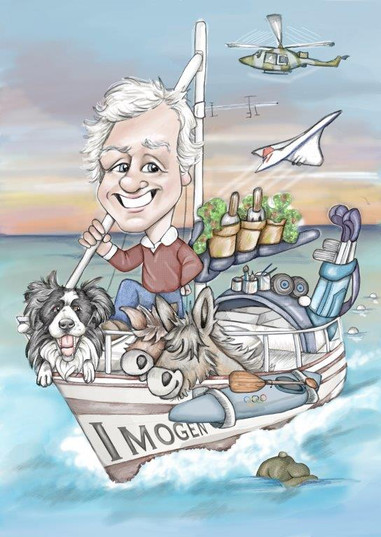 Digital caricature drawing of dad on a boat with her collie | picky pencil caricature artist
