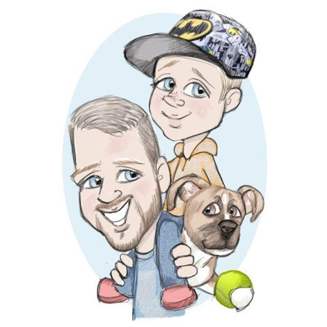 christmas gift for nephew and pet stafford bull terrier | picky pencil dog caricatures
