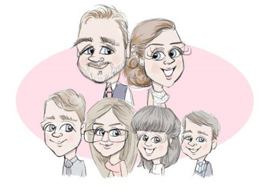 family portrait cartoon from picky pencil ilustration