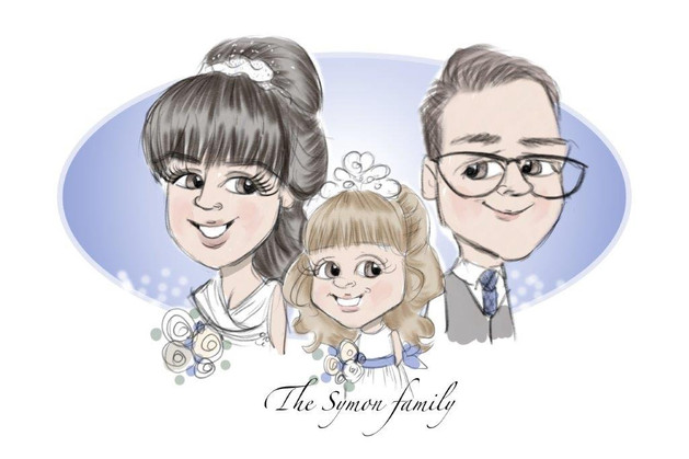 Family wedding cartoon from picky pencil illustration taken from entertainment package