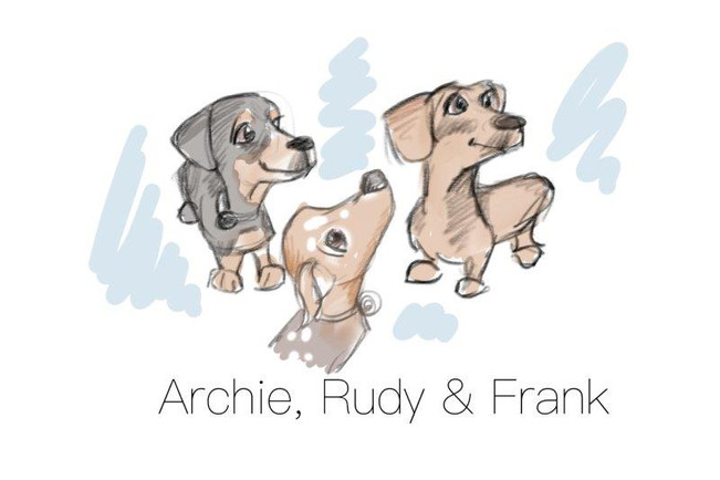 sausage dog caricature drawing family quick sketch ive illustration